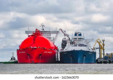 Klaipeda,Lithuania-July 20,2015: LNG import terminal FSRU Independence and LNG Tanker ARCTIC PRINCESS in port.