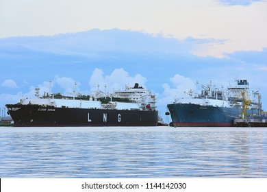 KLAIPEDA,LITHUANIA-JULY 21,2017: LNG Tanker CLEAN OCEAN and LNG import terminal Independence.