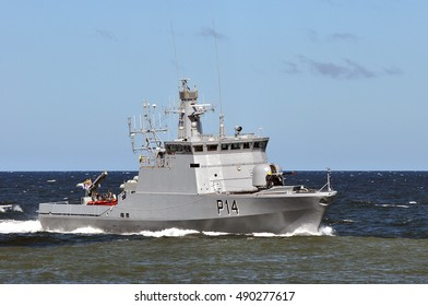 KLAIPEDA,LITHUANIA-JULY 21:military ship P14 in port Klaipeda on July 21,2016 in Klaipeda,Lithuania.
