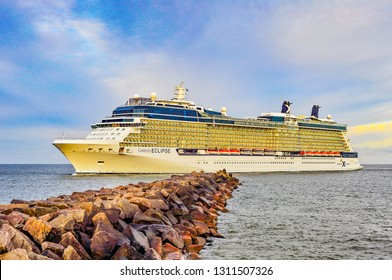 Klaipeda,Lithuania-June 09,2015:cruise liner Celebrity Eclipse in port.Celebrity Eclipse is a Solstice-class cruise ship, operated by Celebrity Cruises.