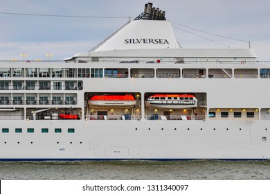Klaipeda,lithuania-June 20,2015:cruise liner Silver Whisper in the Baltic sea. Silver Whisper is a cruise ship that entered service in 2000, and is operated by Silversea Cruises.