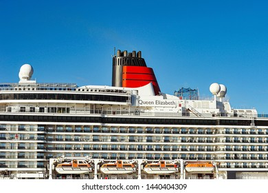 KLAIPEDA,LITHUANIA-JUNE 20,2018: Cruise liner QUEEN ELIZABETH.MS Queen Elizabeth is a cruise ship of the Vista class operated by the Cunard Line, a British-American cruise line.
