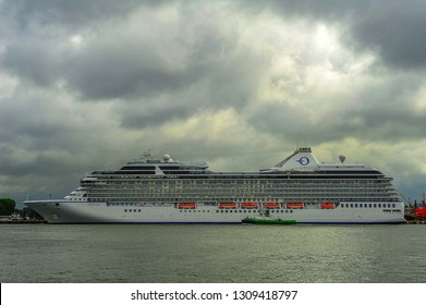 KLAIPEDA,LITHUANIA-JUNE 24,2015: MARINA ship in the Baltic sea.MS Marina is an Oceania-class cruise ship, which was constructed at Fincantieri's Sestri Ponente yards in Italy for Oceania Cruises.