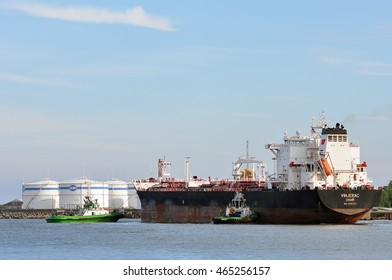 KLAIPEDA,LITHUANIA-JUNE 28: view of the oil station with tanker in port Klaipeda on June 28,2016 in Klaipeda, Lithuania.