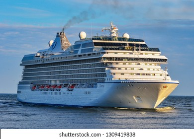 KLAIPEDA,LITHUANIA-JUNE 30,2015: MARINA ship in the Baltic sea.MS Marina is an Oceania-class cruise ship, which was constructed at Fincantieri's Sestri Ponente yards in Italy for Oceania Cruises.