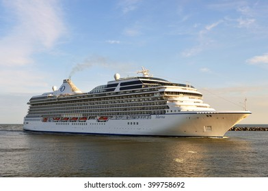 KLAIPEDA,LITHUANIA-JUNE 30:Cruise liner MARINA in the Baltic sea on June 30,2015 in Klaipeda,Lithuania.MS Marina- Oceania-class cruise ship, constructed in Italy for Oceania Cruises.