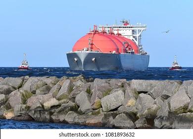 KLAIPEDA,LITHUANIA-MAY 02,2018: LNG Tanker ARCTIC VOYAGER.