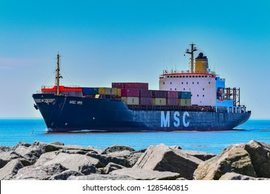 KLAIPEDA,LITHUANIA-MAY 14,2018:Containership MSC IRIS.MSC Mediterranean Shipping Company S.A. is the world's second-largest shipping line in terms of container vessel capacity.