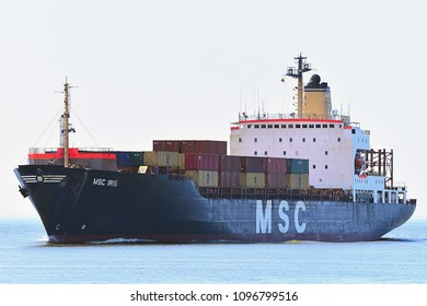 KLAIPEDA,LITHUANIA-MAY 22,2018:Containership MSC IRIS.MSC Mediterranean Shipping Company S.A. is the world's second-largest shipping line in terms of container vessel capacity.
