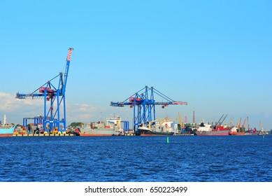 KLAIPEDA,LITHUANIA-MAY 26: view on the Klaipeda port on May 26,2017 in Klaipeda,Lithuania.