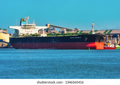 Klaipeda,Lithuania-May 28,2015: CRUDE OIL TANKER ASTRO PERSEUS in port.