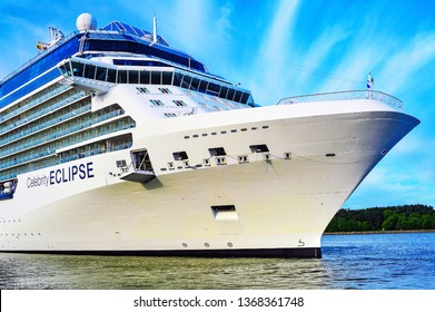 Klaipeda,Lithuania-May 28,2015:cruise liner  Celebrity Eclipse. Cruise liner  Celebrity Eclipse is a Solstice-class cruise ship, operated by Celebrity Cruises.