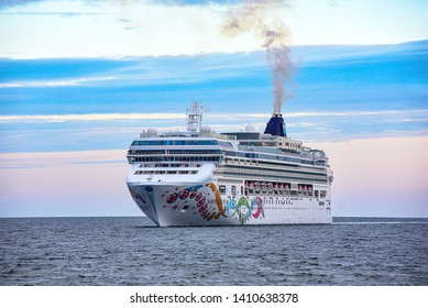 Klaipeda,Lithuania-May 29,2019:  ship NORWEGIAN PEARL in the Baltic sea.Norwegian Pear-Jewel class cruise ship of Norwegian Cruise Line, lsailing itineraries primarily around Alaska and the Caribbean.