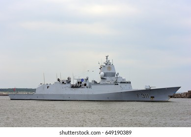 KLAIPEDA,LITHUANIA-MAY 29:military ship F 311/ROALD AMUNDSEN in the Baltic sea on May 29,2017 in Klaipeda,Lithuania.