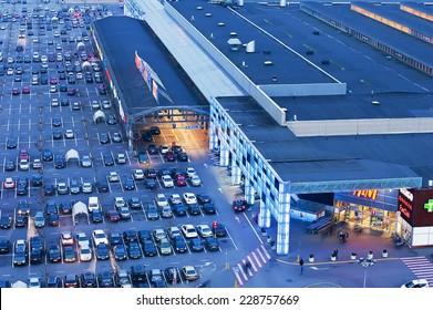 KLAIPEDA,LITHUANIA-NOV 05:night view on shopping center on November 05,2014 in Klaipeda,Lithuania.