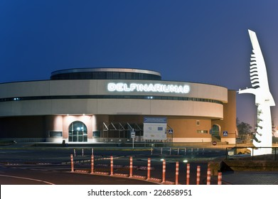 KLAIPEDA,LITHUANIA-OCT 27:Dolphinarium by night on October 27,2014 in Klaipeda,Lithuania