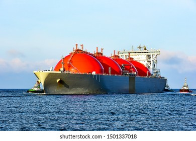 Klaipeda,Lithuania-September 09,2019: LNG Tanker ARCTIC VOYAGER in the Baltic Sea.