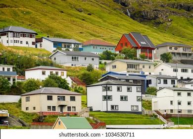 KLAKSVIK, FAROE ISLANDS - AUGUST 31, 2017: Houses in Klaksvik, the second largest town of the Faroe Islands, autonomous region of the Kingdom of Denmark