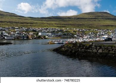 Klaksvik harbour with houses and boats on Faroe Islands
