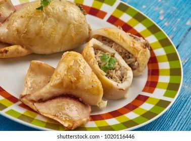 klamar mimli - Stuffed Calamari with tuna and shrimps, Maltese cuisine