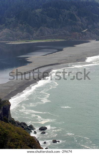 Klamath River Mouth & Estuary in Northern California Redwood Forrest