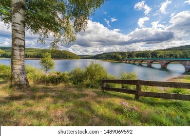 Klamer Bridge over the Verse dam in the Sauerland in Germany.