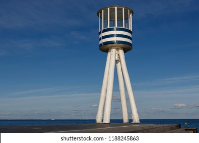 Klampenborg, Denmark.September 25, 2018. Lifeguard watch tower designed 1933 by Danish star architect Arne Jacobsen.