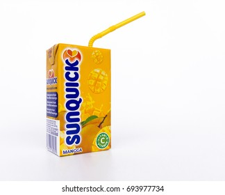 Klang , Malaysia - 10 August 2017 : Sunquick liquid in box packaging flavor mango isolated white background. Sunquick is a product of CO-RO A/S a Danish company.