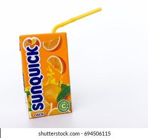 Klang , Malaysia - 10 August 2017 : Sunquick liquid in box packaging flavor orange on the white background. Sunquick is a product of CO-RO A/S a Danish company.