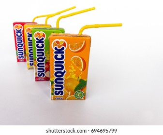 Klang , Malaysia - 10 August 2017 : Sunquick liquid in box packaging flavor mango/orange/apple/berries isolated white background. Sunquick is a product of CO-RO A/S a Danish company.