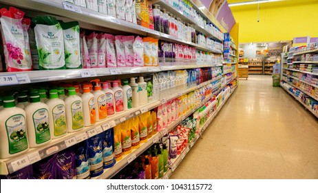 Klang Malaysia, 11 March 2018. Supermarket interior with shelves full of various products.