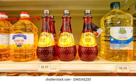 Klang Malaysia. 11 March 2018. Cooking oils display in shelf at Tesco hypermarket.