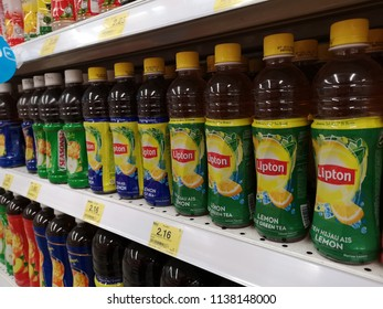 Klang, Malaysia - 13 July 2018 : Variety of LIPTON plastic drink bottle's flavour ice lemon tea display for sell in the supermarket shelf.
