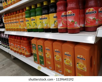 Klang, Malaysia - 13 July 2018 : Various a bottle of SUNQUICK cordial fruit juice display for sell in the supermarket shelf