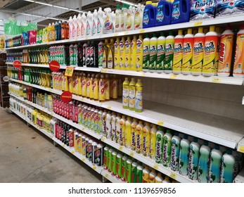 Klang, Malaysia - 13 July 2018 : Assorted a branded dish washing liquid bottle's display for sell in the supermarket shelf.