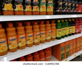 Klang, Malaysia - 13 July 2018 : SUNQUICK juices bottle display for sell in the supermarket shelf.