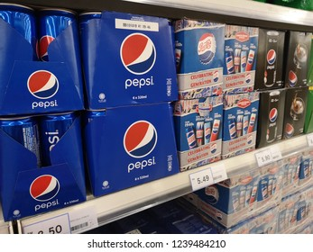 Klang, Malaysia - 16 November 2018 : Assortment a Pepsi pack can display for sell in the supermarket shelf. Pepsi is a carbonated soft drink that is produced and manufactured by PepsiCo.