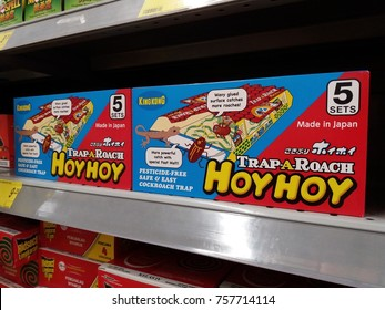 Klang , Malaysia - 17 November 2017 : Trap a roach box display on the supermarket shelf.