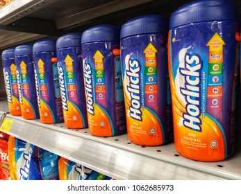 Klang , Malaysia - 1st April 2018 : Horlicks is a brand name of malted milk hot drinks on the shelf in supermarket