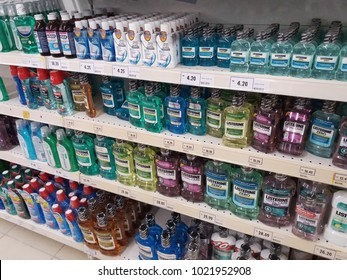 Klang , Malaysia - 1st February 2018 : Assorted of brand LISTERINE bottle on the supermarket shelf.