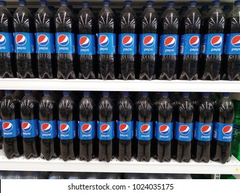 Klang , Malaysia - 1st February 2018 : Pepsi drinks in the bottle on supermarket shelf. Pepsi is a carbonated soft drink that is produced and manufactured by PepsiCo.