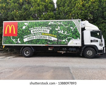 Klang, Malaysia - 20 April 2019 : This truck runs on Biodiesel recycled from McDonald's used cooking oil parked at street with selective focus.