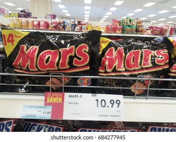 Klang , Malaysia - 24 July 2017 : View of Mars chocolate bar packets on the shelf in supermarket