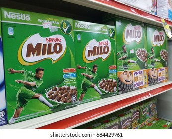 Klang , Malaysia - 25 July 2017 : Produced by Nestle, Milo made with whole grain. Nestle is the world's leading nutrition, health and wellness company.