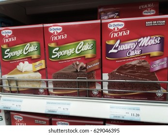 Klang , Malaysia - 25th April 2017 ; Nona branded butter cake variety flavor on the shelf at supermarket.