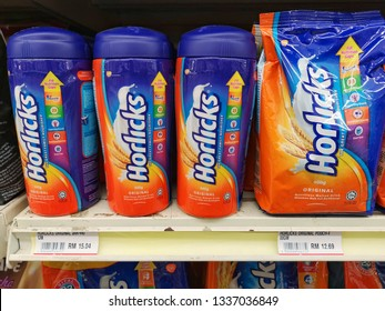 Klang, Malaysia - 28 February 2019 :  Horlicks is a brand name of malted milk hot drinks on the shelf in supermarket with selective focus.Mobile photoghpy.