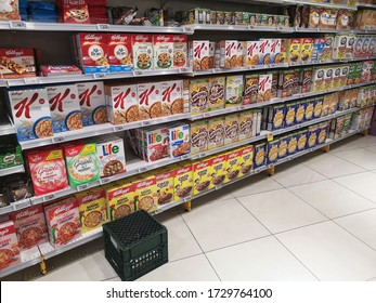 Klang, Malaysia - 29 April 2020 : various brands selection of breakfast cereal display for sell in the supermarket with selective focus.