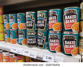 Klang , Malaysia - 29 January 2018 : HEINZ BAKED BEANZ cans display on the supermarket shelves.
