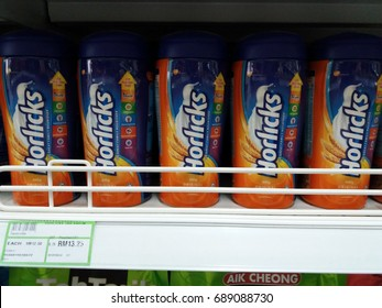 Klang , Malaysia - 2nd August 2017 : Horlicks is a brand name of malted milk hot drinks on the shelf in supermarket