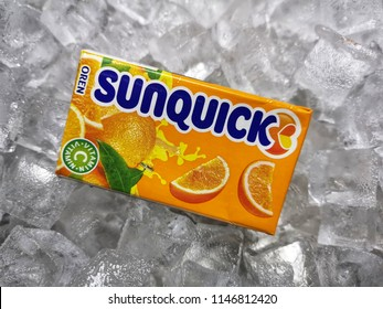 Klang, Malaysia - 30 July 2018 : Sunquick liquid fruit juice box flavor Orange in ice crushed. Sunquick is a product of CO-RO A/S a Danish company.